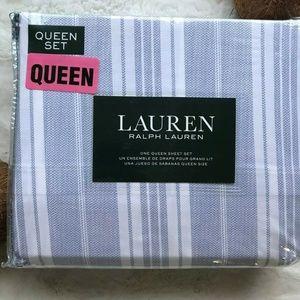 LRL Cotton Blue/White Striped QUEEN Sheet Set